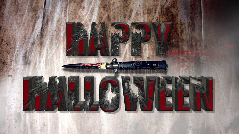 Effetto sanguinoso spaventoso felice del testo di Halloween fotografie stock