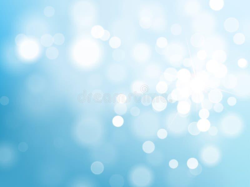 Effetto scintillante leggero del bokeh blu sul fondo brillante del cielo di vettore illustrazione di stock