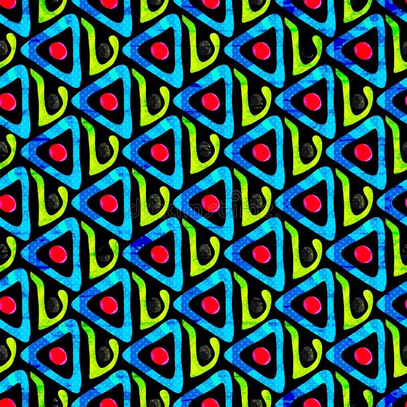 Effetto senza cuciture geometrico di lerciume del modello dei graffiti luminosi illustrazione di stock