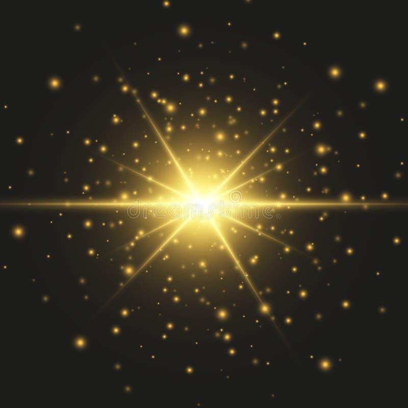 Effetto speciale del chiarore chiaro Illustrazione Il vettore scintilla su fondo nero Effetto speciale del chiarore chiaro Le luc illustrazione di stock