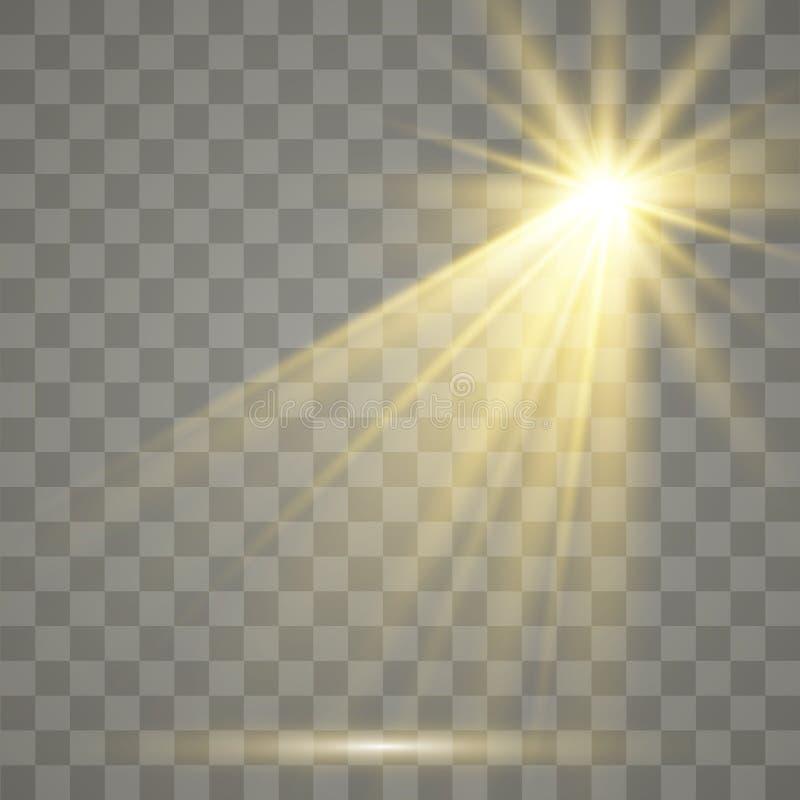 Effetto speciale del chiarore chiaro Illustrazione Il vettore scintilla su fondo trasparente Effetto speciale del chiarore chiaro illustrazione vettoriale