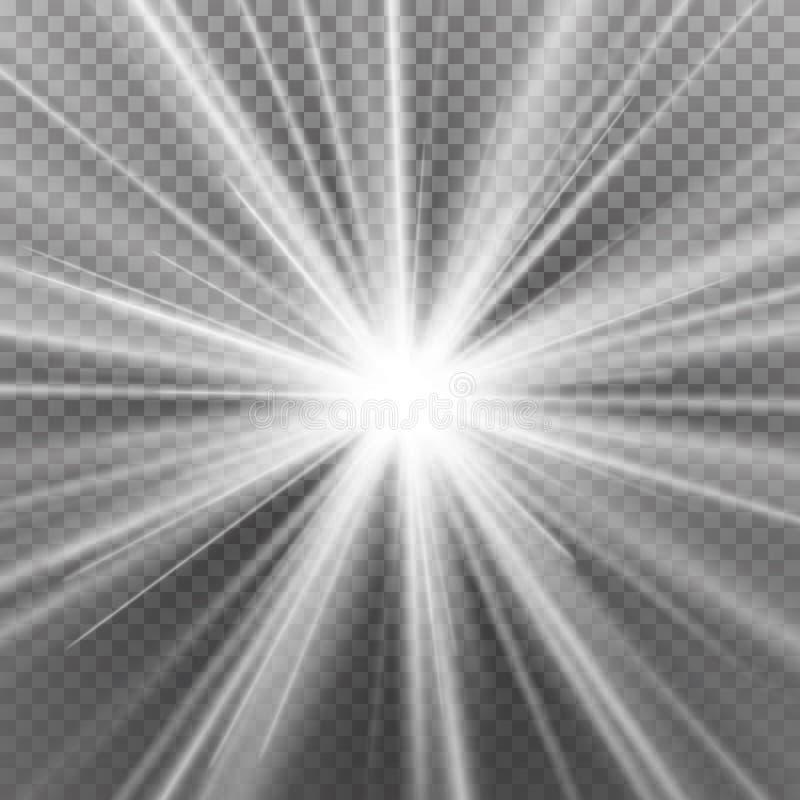 Effetto speciale del chiarore chiaro Immagine astratta del chiarore di illuminazione Isolato su fondo trasparente Illustrazione d illustrazione di stock