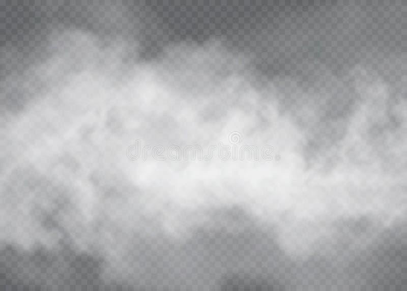 Effetto speciale trasparente del fumo o della nebbia Fondo bianco di opacità, della foschia o dello smog Illustrazione di vettore royalty illustrazione gratis