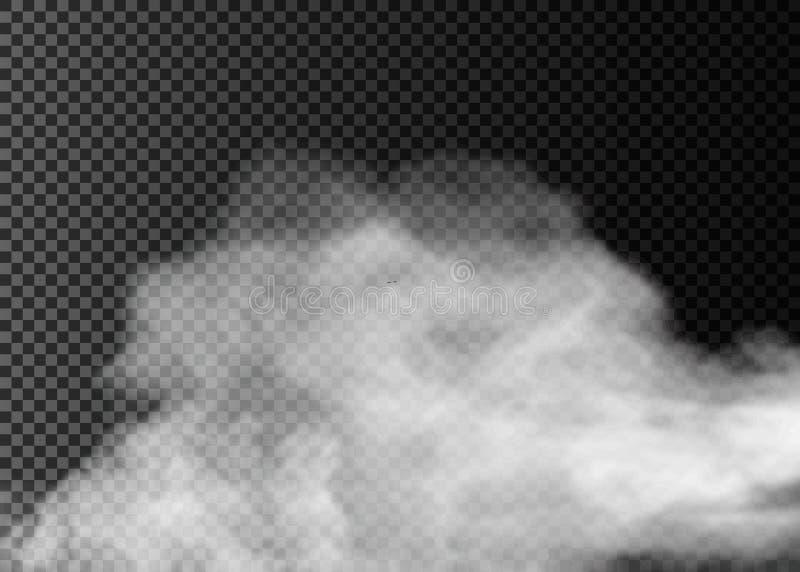 Effetto speciale trasparente del fumo o della nebbia Fondo bianco di opacità, della foschia o dello smog illustrazione vettoriale