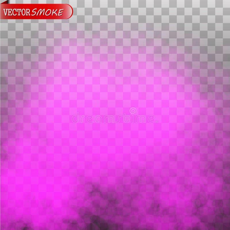 Effetto speciale trasparente isolato colore porpora del fumo o della nebbia illustrazione di stock