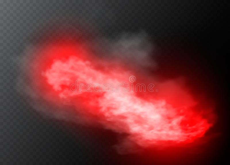 Effetto speciale trasparente rosso di colore del fumo o della nebbia Opacità bianca di vettore, fondo dello smog della foschia Il royalty illustrazione gratis