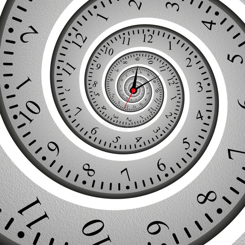 Effetto a spirale astratto di frattale dell'orologio, quadrante torto illustrazione di stock