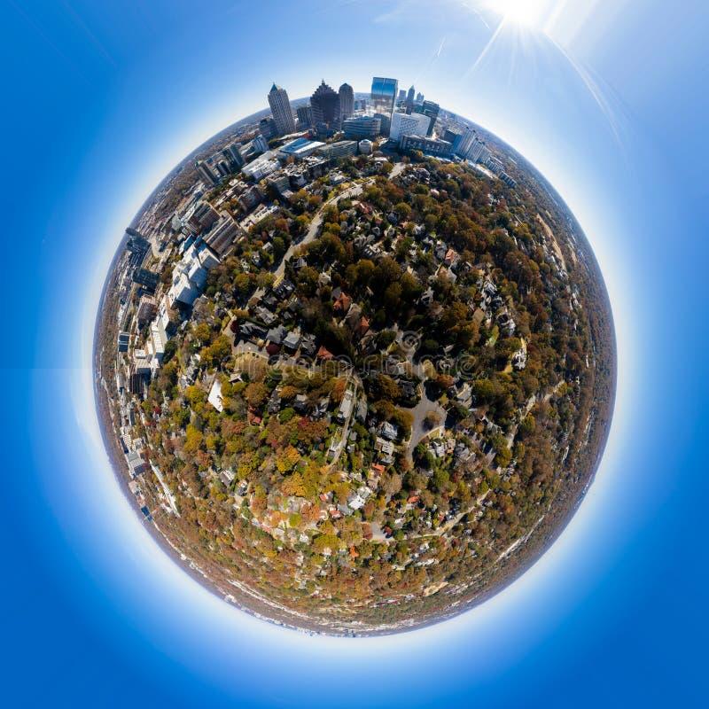 Effetto Tiny Planet in Midtown Atlanta immagini stock libere da diritti