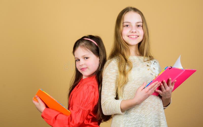 Effettuare ricerca libri di esercizi per scrivere Di nuovo al banco Allievi che leggono un libro Progetto della scuola Amicizia e immagini stock