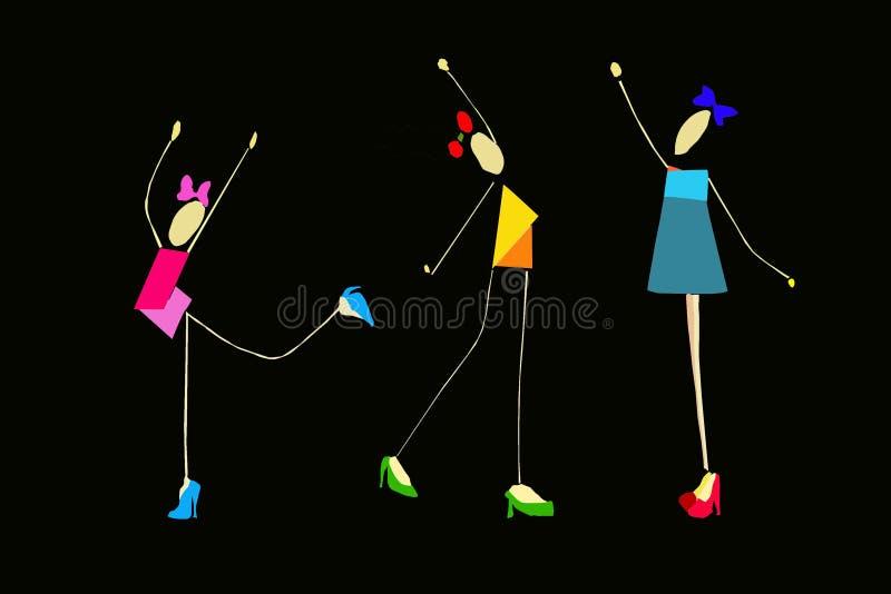 Effettuazione delle ragazze relativa alla ginnastica illustrazione vettoriale