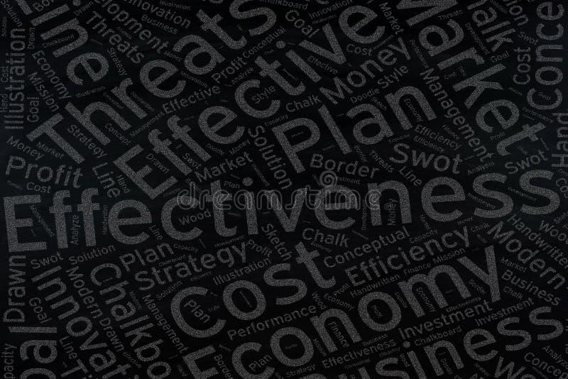 Efficacia, arte della nuvola di parola sulla lavagna immagine stock