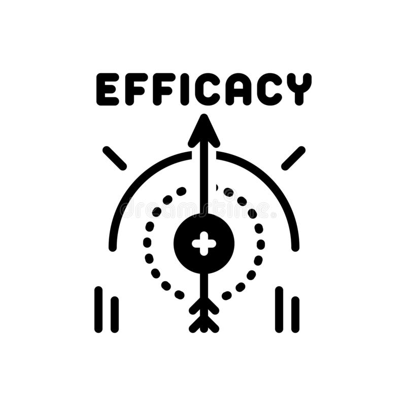 Black solid icon for Efficacy, impact and influence. Black solid icon for Efficacy, impression, compass, management,  impact and influence royalty free illustration