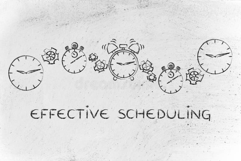 Efficiënt het plannen: klokken, chronometers en alarm met gearwh stock foto