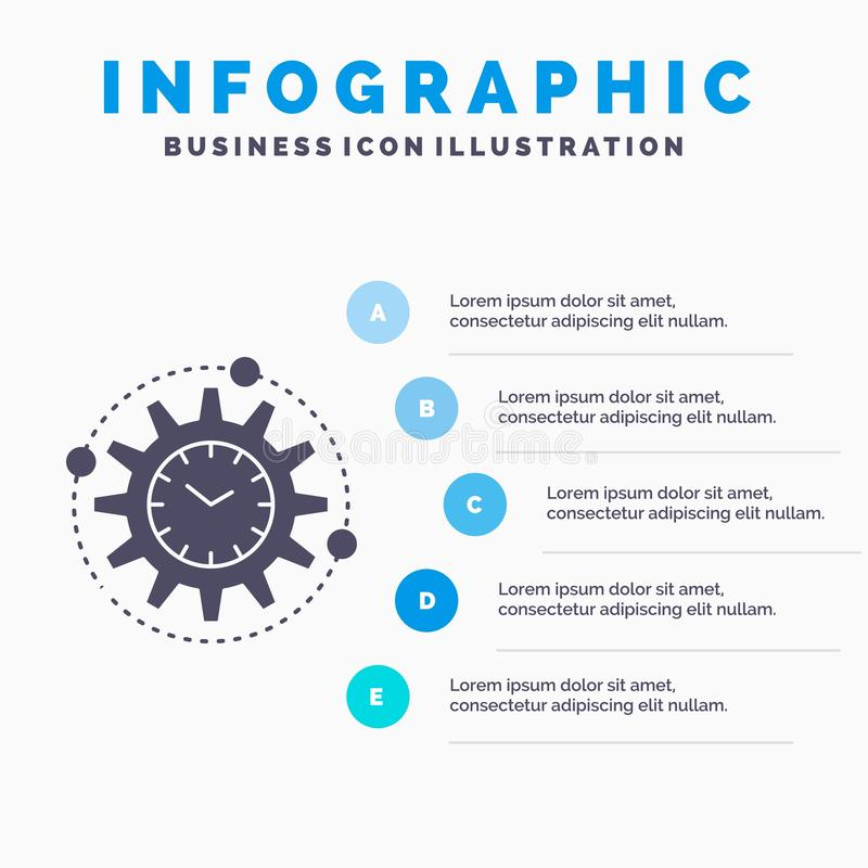 Efficiency, beheer, verwerking, productiviteit, het Malplaatje van projectinfographics voor Website en Presentatie GLyph Grijs pi stock illustratie
