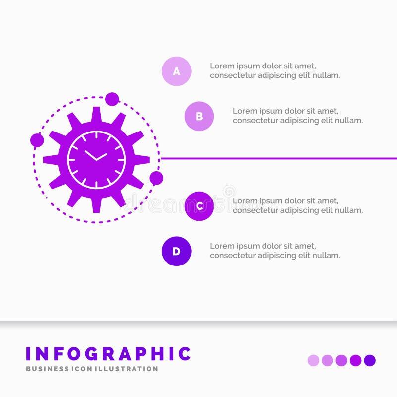 Efficiency, beheer, verwerking, productiviteit, het Malplaatje van projectinfographics voor Website en Presentatie GLyph Purper p royalty-vrije illustratie