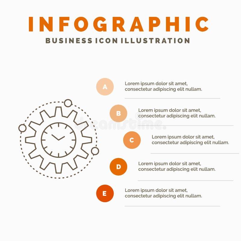 Efficiency, beheer, verwerking, productiviteit, het Malplaatje van projectinfographics voor Website en Presentatie Lijn Grijs pic vector illustratie