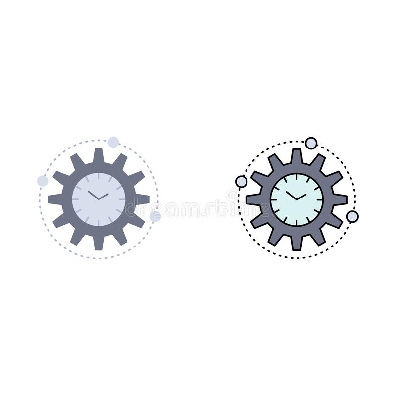 Efficiency, beheer, verwerking, productiviteit, het Pictogramvector van de project Vlakke Kleur stock illustratie