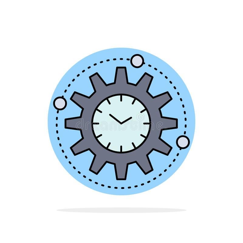 Efficiency, beheer, verwerking, productiviteit, het Pictogramvector van de project Vlakke Kleur royalty-vrije illustratie