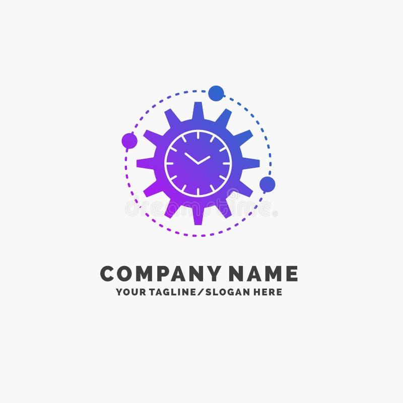 Efficiency, beheer, verwerking, productiviteit, project Purpere Zaken Logo Template Plaats voor Tagline royalty-vrije illustratie
