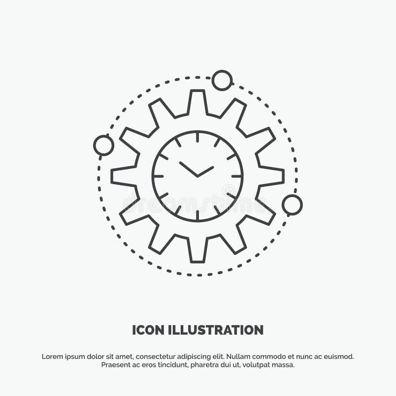 Efficiency, beheer, verwerking, productiviteit, projectpictogram Lijn vector grijs symbool voor UI en UX, website of mobiel royalty-vrije illustratie