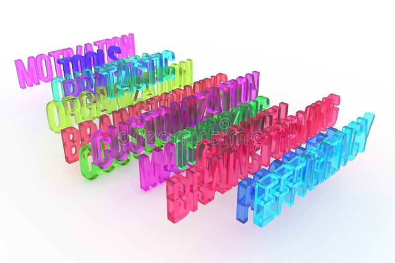 Efficiency & brainstorming, business conceptual colorful 3D words. Graphic, rendering, artwork & text. royalty free illustration