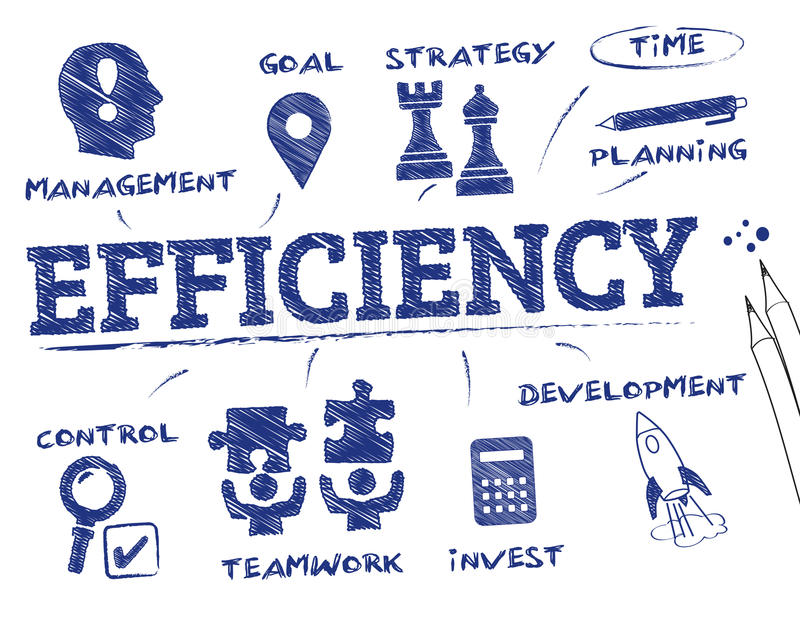 Efficiency concept chart. Efficiency concept. Chart with keywords and icons royalty free illustration