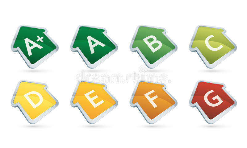 Efficiency energy house-shaped icons from G to A+ royalty free stock photos