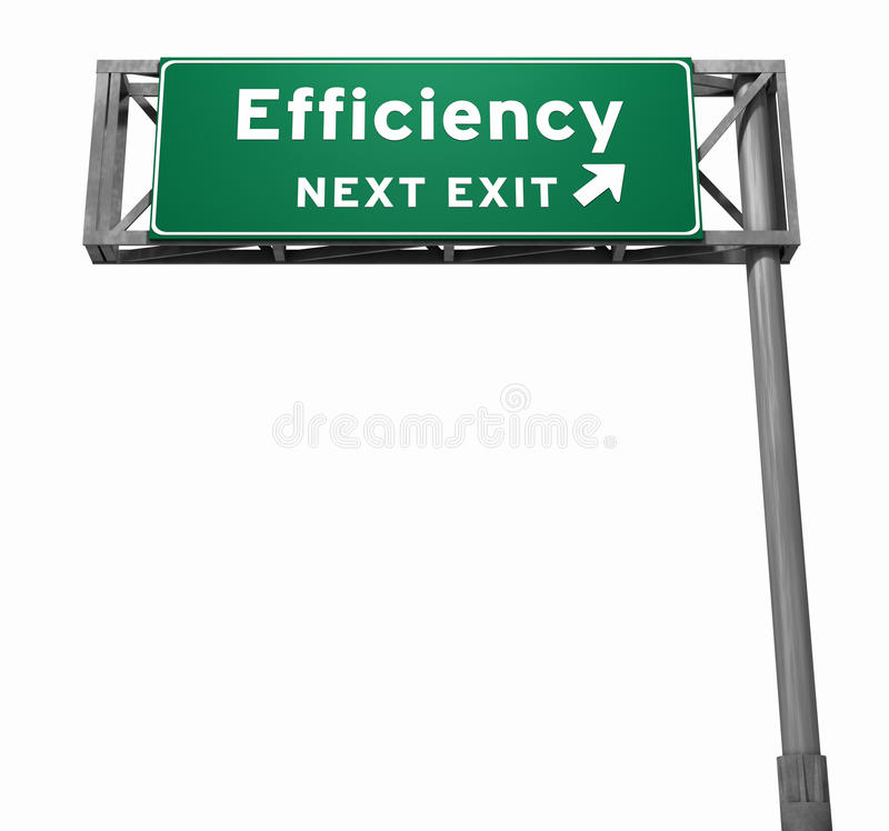 Efficiency Freeway Exit Sign royalty free stock images
