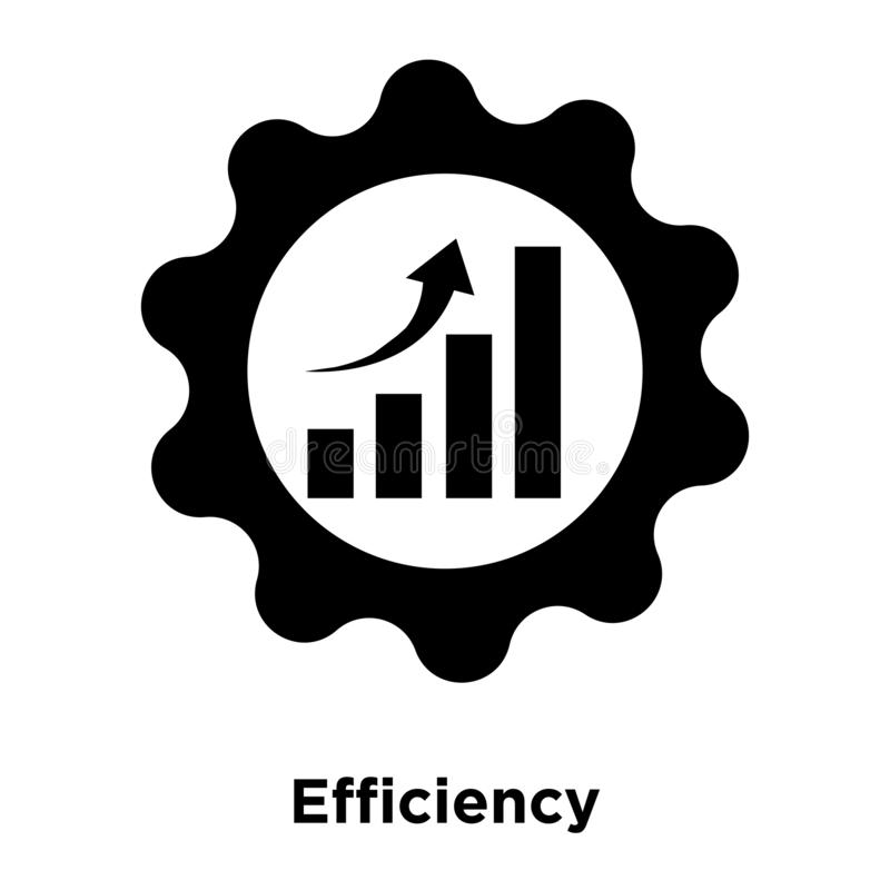 Efficiency icon vector isolated on white background, logo concept of Efficiency sign on transparent background, black filled. Efficiency icon vector isolated on royalty free illustration