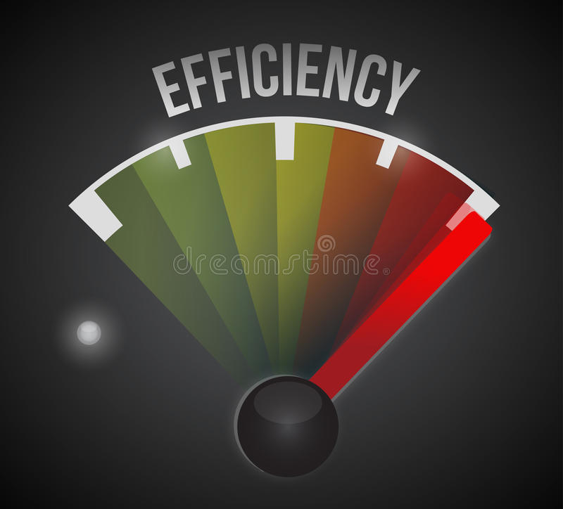 Efficiency level measure meter from low to high stock illustration