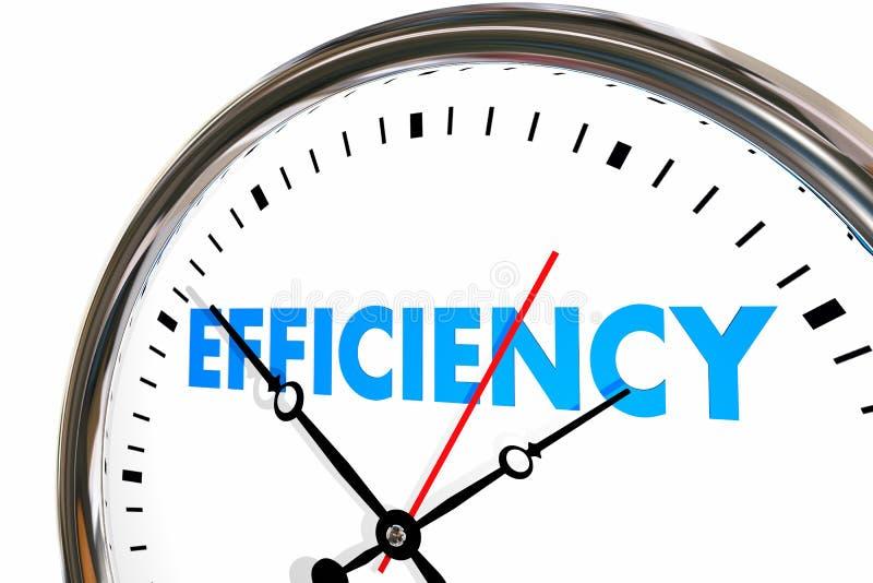 Efficiency Productivity Clock Word Work Results. 3d Illustration royalty free illustration
