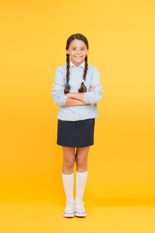 Efficiency van het bestuderen Aanbiddelijk schoolmeisje Ijverig schoolmeisje Schoolmeisje gelukkig het glimlachen leerlings lang  royalty-vrije stock afbeeldingen