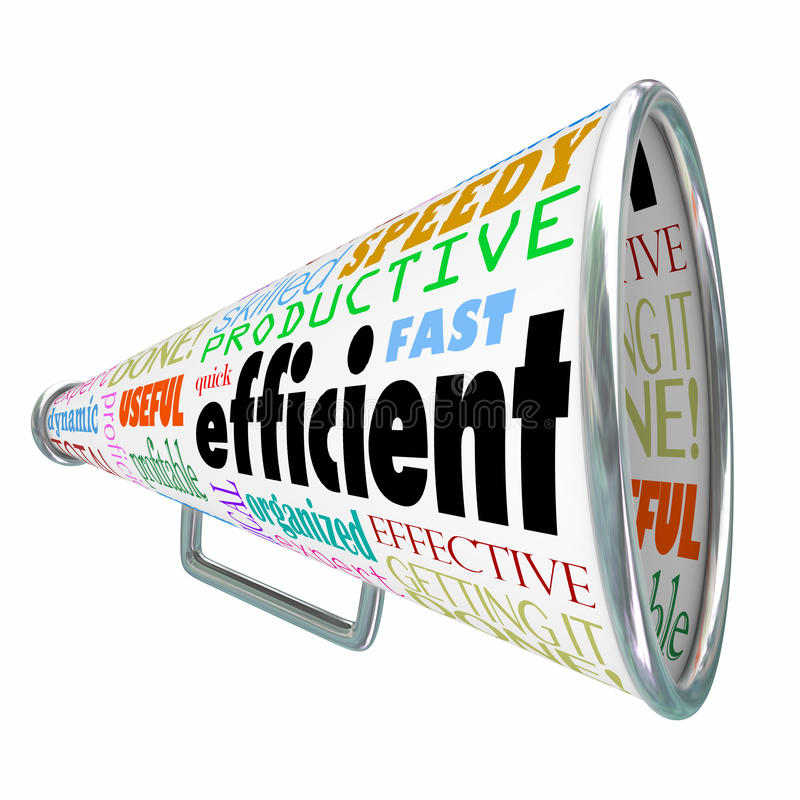 Efficient Productive Bullhorn Megaphone Effective Organized. Efficient word on a bullhorn or megaphone to illustrate an effective worker or organized person vector illustration