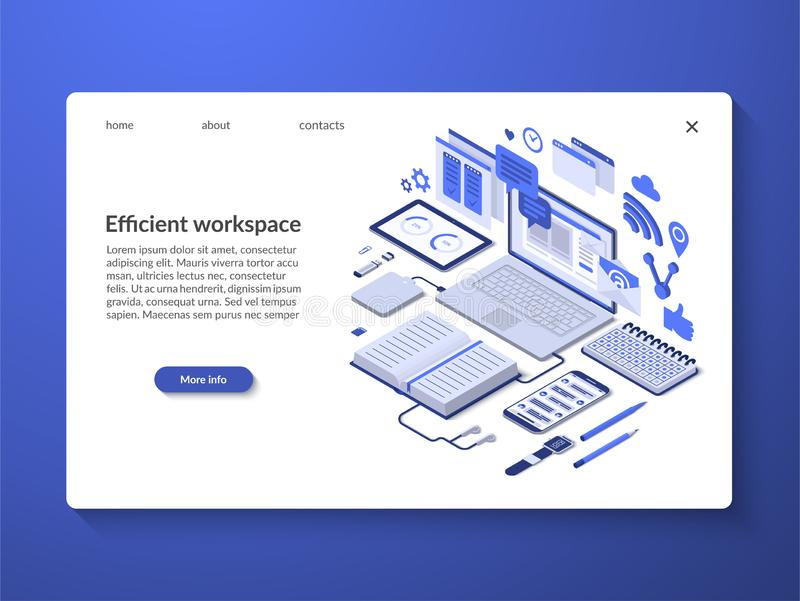 Efficient workspace, workflow organization concept. Efficient workspace, workflow organization, time management concept. Landing page with isometric illustration stock illustration