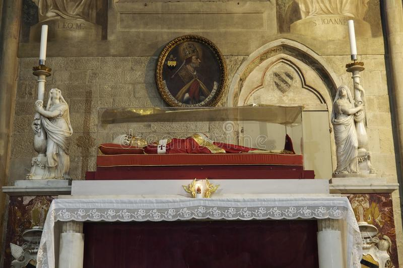 Arezzo, Tuscany, Italy - May 21 ,2016 : The effigy of Pope Gregory X royalty free stock images