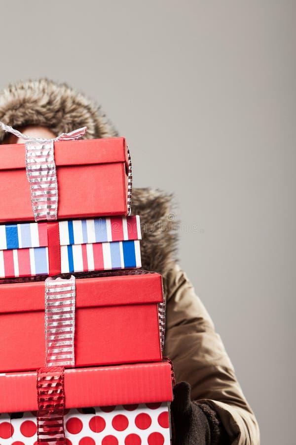Effort d'achats de Noël image libre de droits