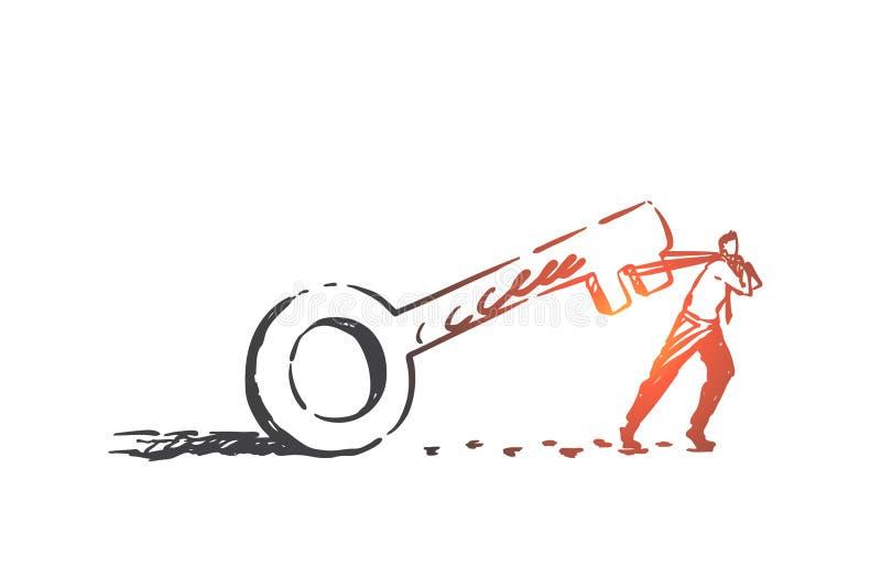 Effort, determination, struggle concept sketch. Hand drawn isolated vector. Effort, determination, struggle concept sketch. Problem solution, mortgage loan vector illustration