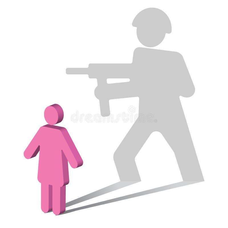 Effort traumatique de Psychologie-courrier Désordre-femelle illustration stock