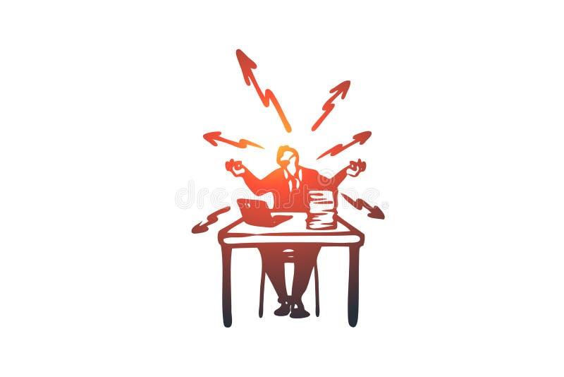 Effort, travail, problèmes, bureau, concept occupé Vecteur d'isolement tiré par la main illustration de vecteur
