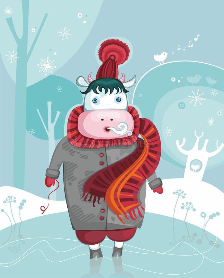 effrayez l'hiver amical mignon illustration stock