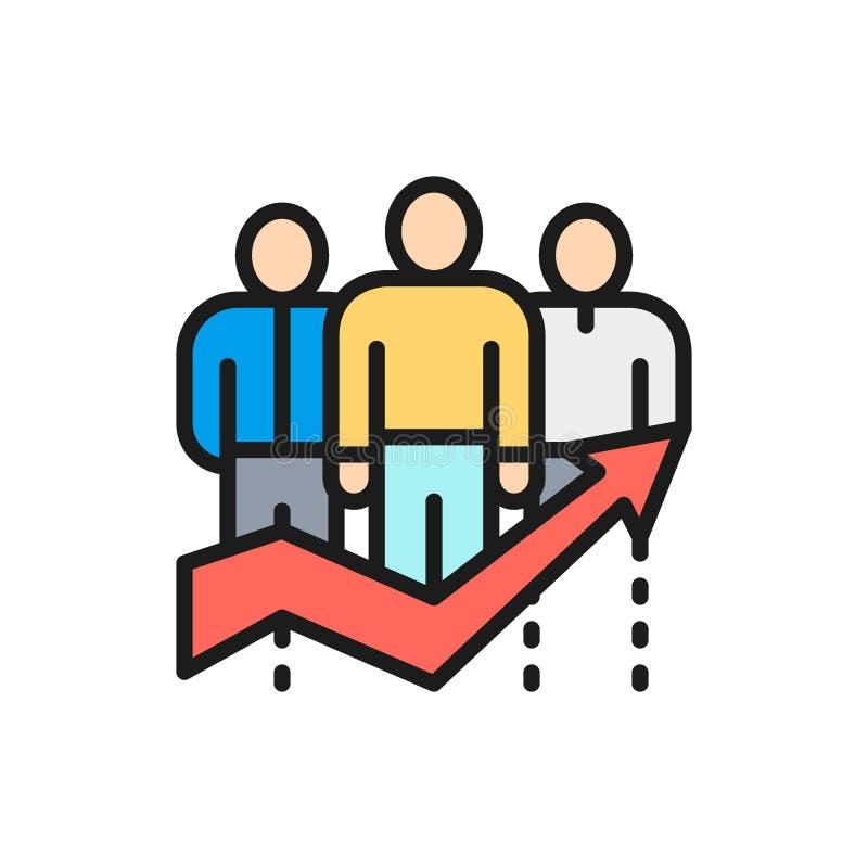 Eficacia del equipo del vector, trabajadores de la compañía con la línea de color plana de la flecha grande icono libre illustration