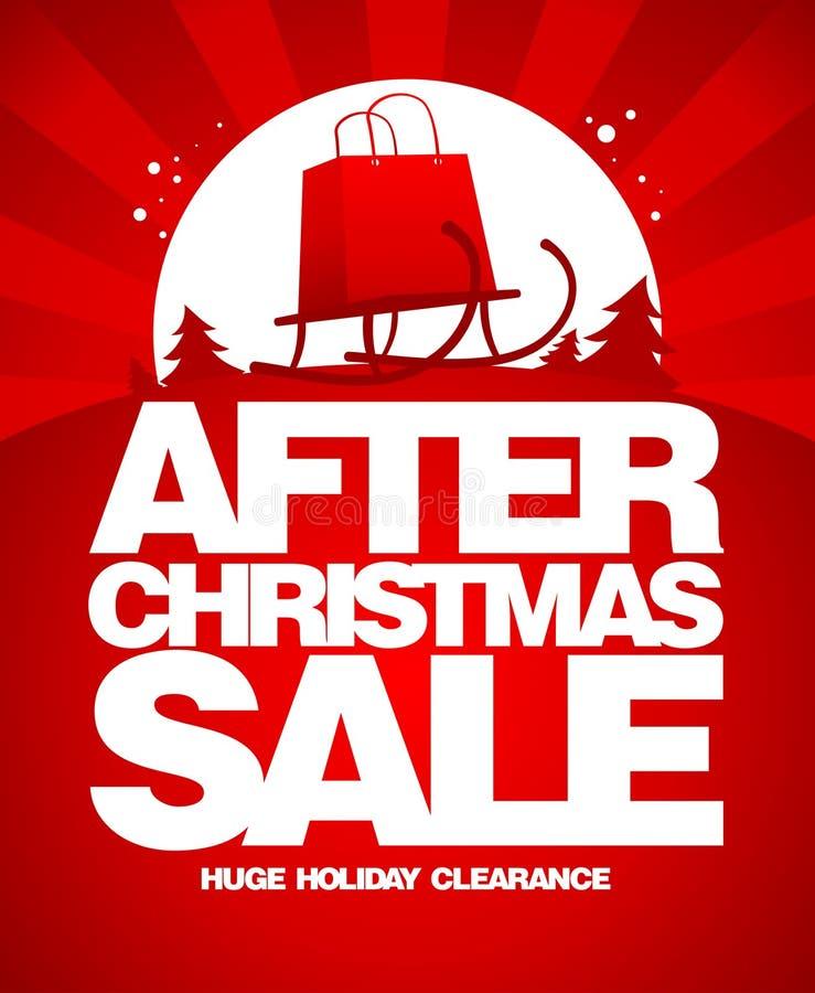 Efter mall för julförsäljningsdesign. vektor illustrationer