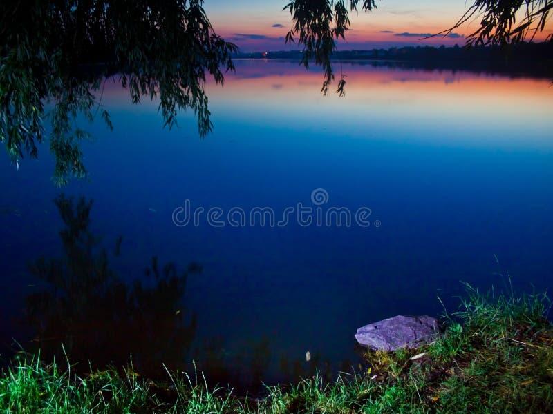 Efter solnedgångsikt av ett stort, tyst och fridsamt sommarbygddamm royaltyfri fotografi