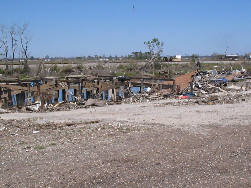 Efterdyning av orkanen Katrina nära sjön Ponchartrain arkivbild