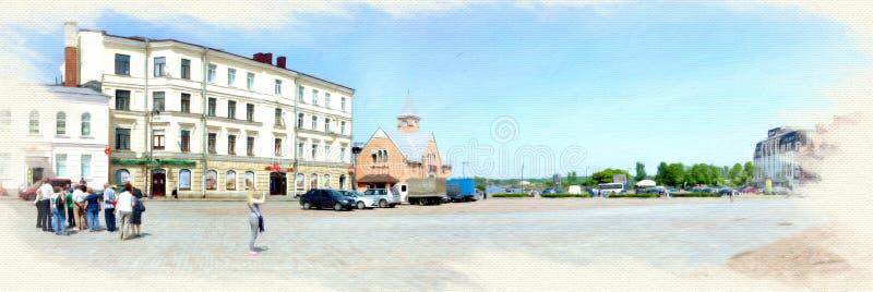 Efterföljd av bilden Marknadsfyrkant i Vyborg panorama royaltyfri fotografi