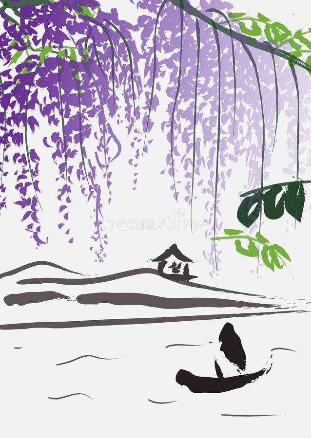 Efterföljd av kinesisk målning med fartyget, kullar och purpurfärgade wisteriafilialer royaltyfri illustrationer