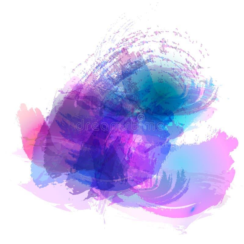 Efterföljd av slaglängder med en vattenfärgborste av blått, rosa färger, lilor färgar på en vitbok, bakgrund vektor illustrationer