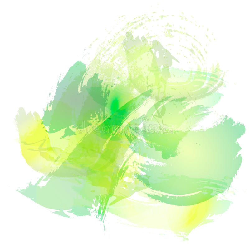 Efterföljd av slaglängder med en vattenfärgborste av gräsplan och guling färgar på en vitbok, bakgrund stock illustrationer