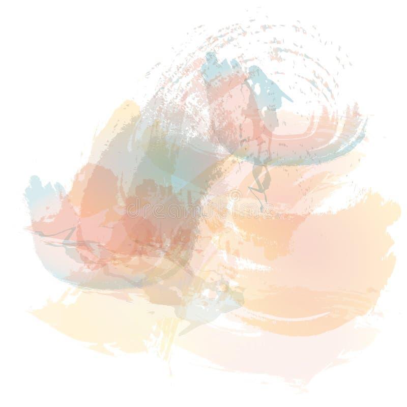 Efterföljd av slaglängder med en vattenfärgborste av blått, rött och apelsinen färgar på en vitbok, original borstar bakgrund stock illustrationer