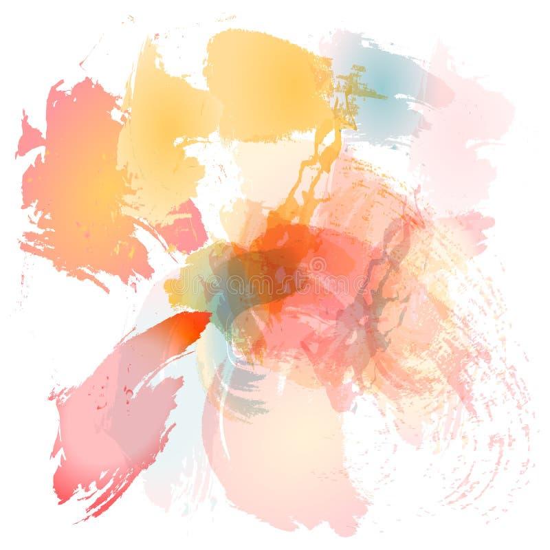 Efterföljd av slaglängder med en vattenfärgborste av röd, apelsin- och blåttsommar för guling, färgar på en vitbok, original- bor vektor illustrationer